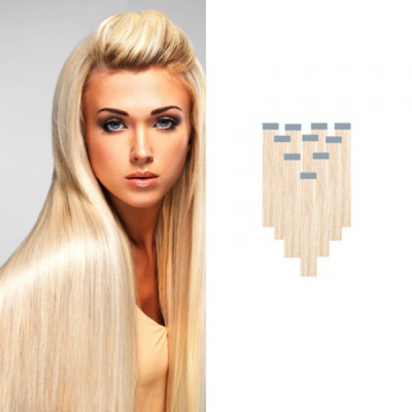Tape on Extensions 10er Tressen blond glatt