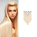 40 Echthaar Tape on Extensions 50 cm länge blond 613 100g Glatt Skinweft